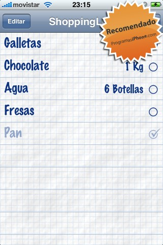 ShoppingList, la lista de la compra en el iPhone
